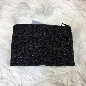 Handbags - Black Beaded Evening Clutch Bag